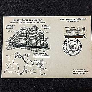 "GB 1969 Cutty Sark Centenary Special Cover ""Posted On Board Cutty Sark 22 Nov 1969"""