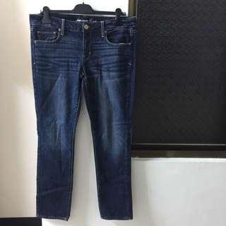 全新AE深藍刷色牛仔褲12號