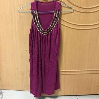 桃紫色背心上衣