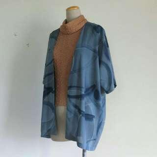 古著  日式  藏藍水波紋雪紡罩衫