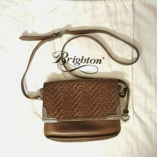 Authentic Brighton Brown Leather Woven Flap Bag