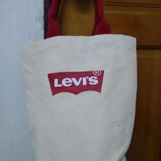 Levi's 造型圓筒袋 米紅帆布袋