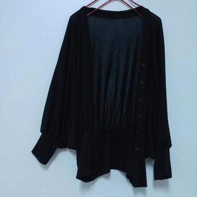 2手 黑色飛鼠袖排釦針織長袖外套