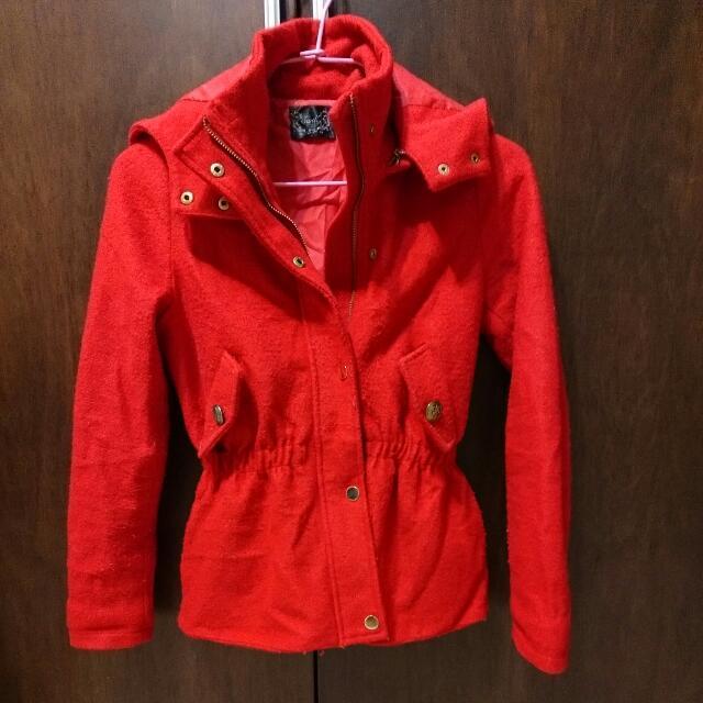 (含運)韓國顯瘦紅色連帽外套