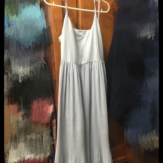 超仙紫灰百摺魚尾洋裝