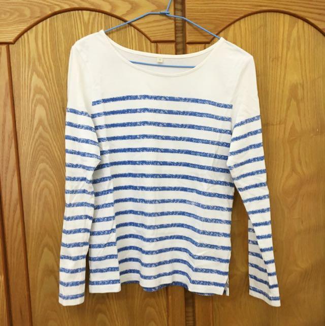 簡約橫條紋白底藍條長袖上衣