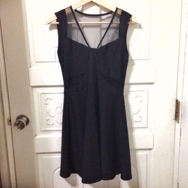 黑色紡紗雪紡洋裝
