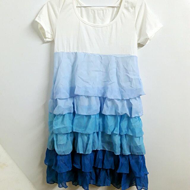 藍色雪紡漸層蛋糕小洋裝