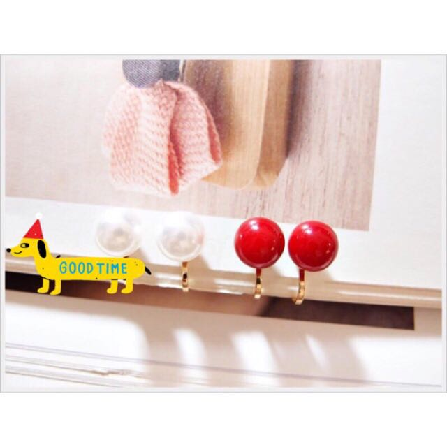 ✨全新✨珍珠耳環紅/白