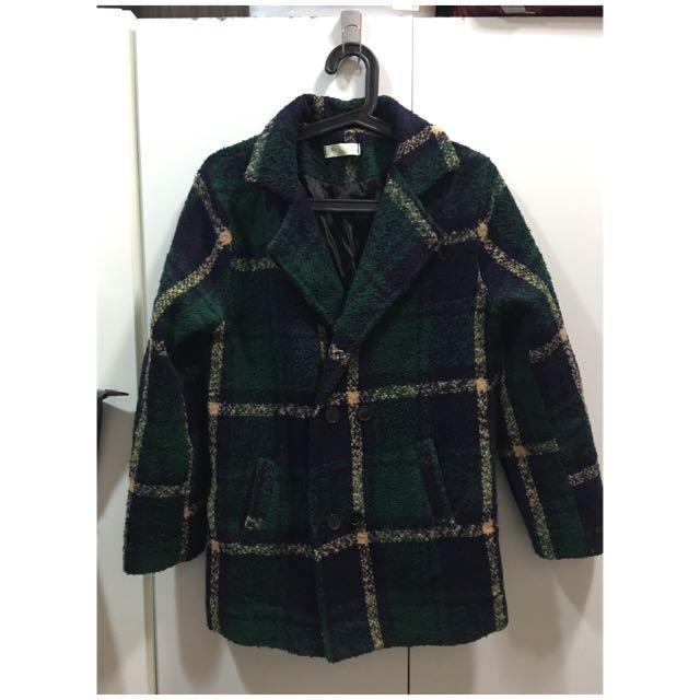 英倫風格深綠格紋毛呢外套