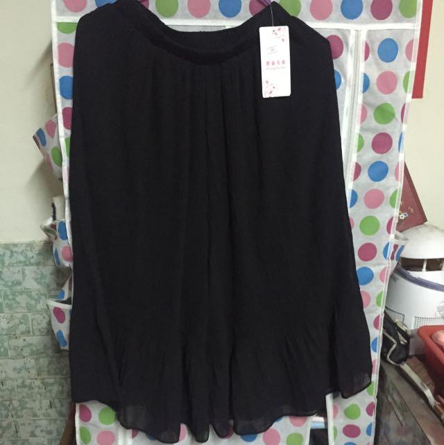 雪紡黑色寬褲裙
