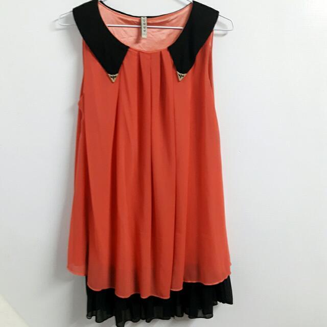 西瓜粉雪紡個性洋裝