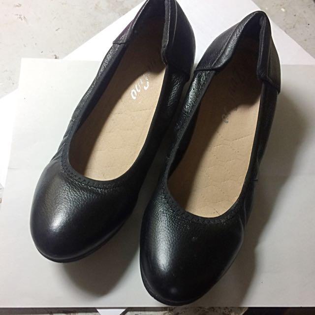 女 平地鞋 黑皮鞋 面試鞋 34號 #500元好女鞋