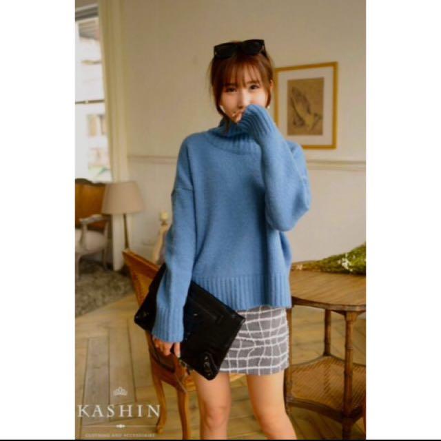 正韓 轉賣 Kashin 高領 毛衣 氣質藍