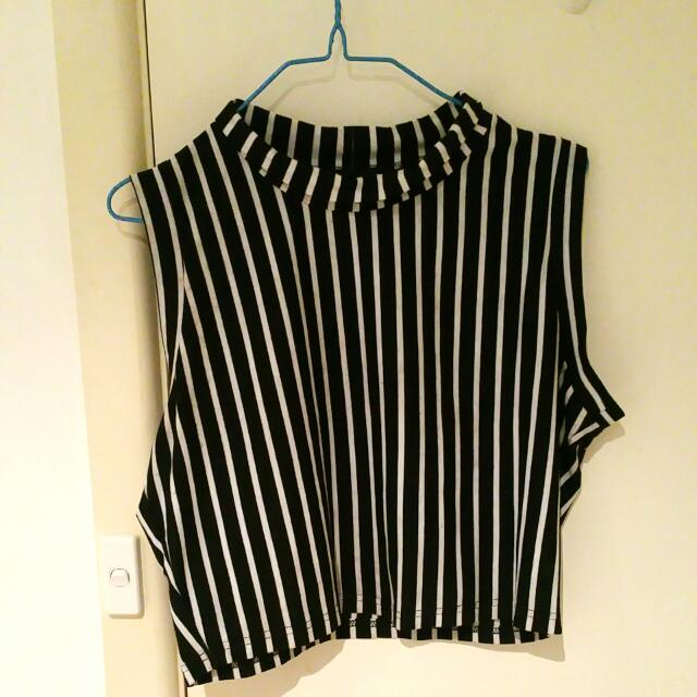 Black Friday Crop Stripe Top Aus Size 13