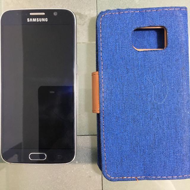 Black Samsung Galaxy S6 And GOOSPERY Wallet Case