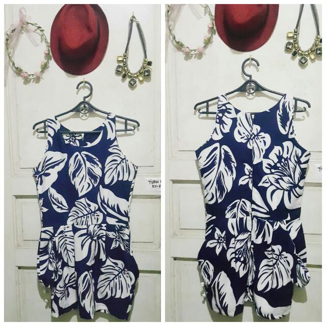 Blue Floral Dress With Side Pockets