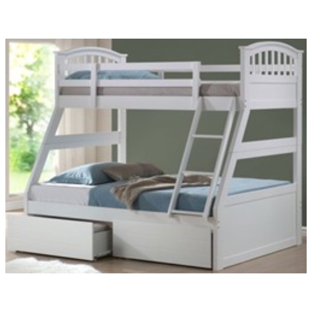 Bunk Bed Wooden White Three Sleeper With Double And Single Mattress
