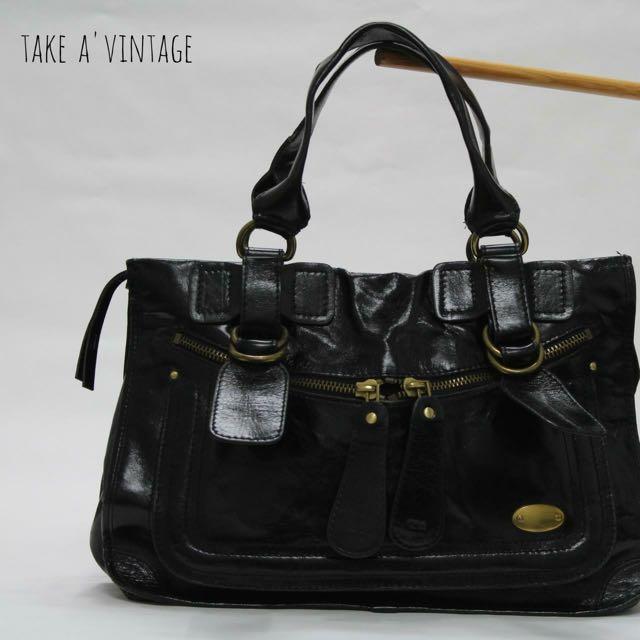 CHLOE, Fall 2005 Patent Bay Large Satchel Bag, Black