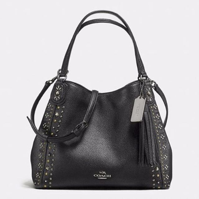 pre order cheap for discount outlet boutique Coach: BANDANA RIVETS EDIE SHOULDER BAG 28 IN PEBBLE LEATHER
