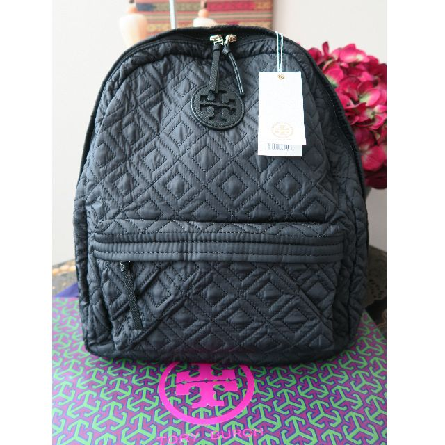 35cd56d233c7 Tory Burch  Ella  Quilted Nylon Leather Trim Tote Backpack Bag Brand ...