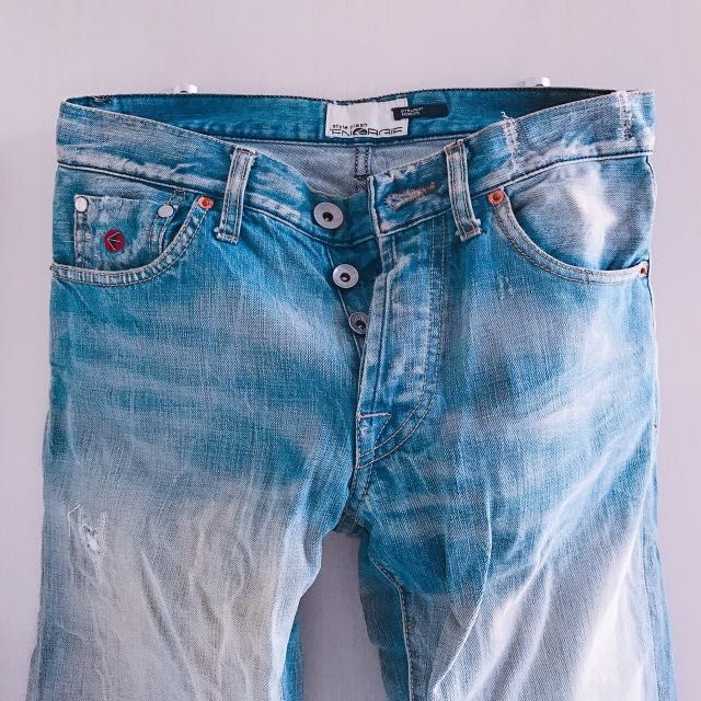ENERGIE 型男 修身 仿舊 刷破 直筒牛仔褲