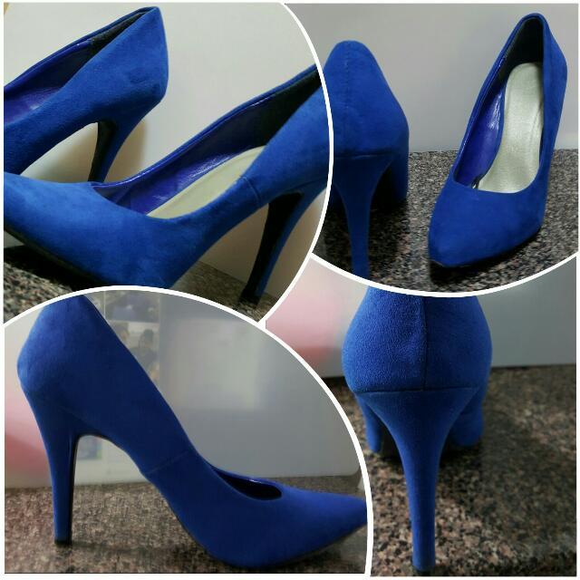 F21 blue micro suede heels (7)