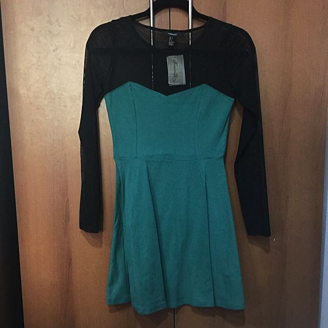 Forever 21 Emerald Green Dress W/ Mesh Top (with Tag)