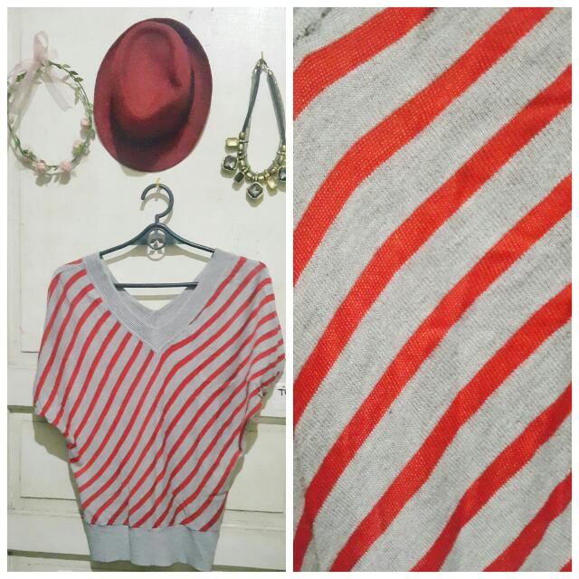 Gray And Red Stripes Blouse