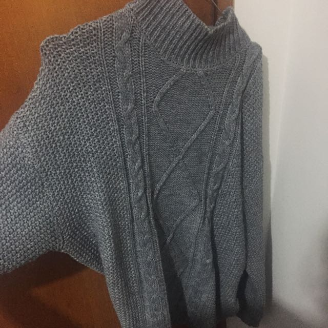 Grey turtle neck knit sweater