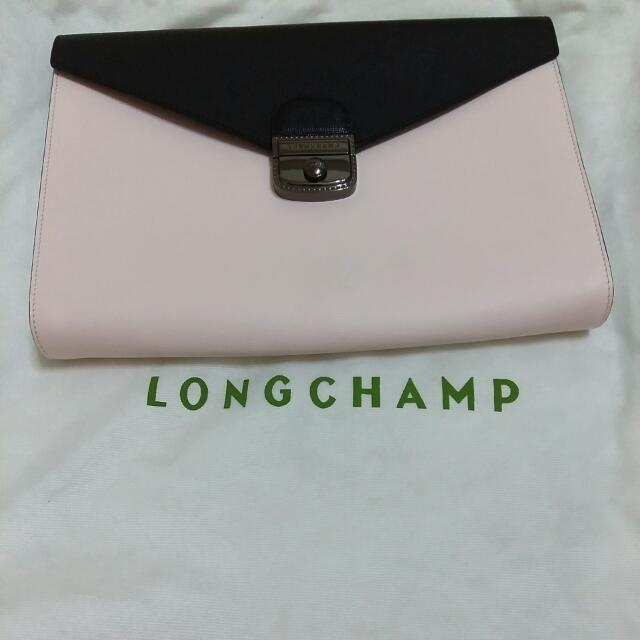Longchamp小牛皮手拿包(黑×粉×白)