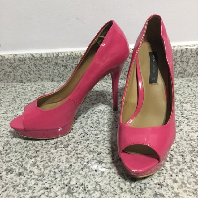 Mango Hot Pink Patent Heels