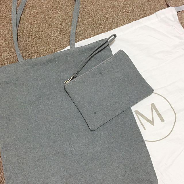 [全新]Meier Q 極簡磨砂長把托特包化妝包組 可肩背側背布包提袋