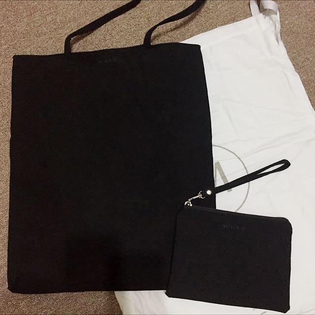 [全新]Meier Q 極簡磨砂長把托特包化妝包組 可肩背側背布包