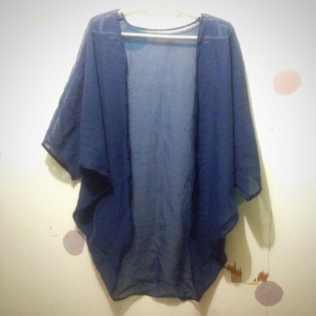 Navy Blue Kimono Cover-Up