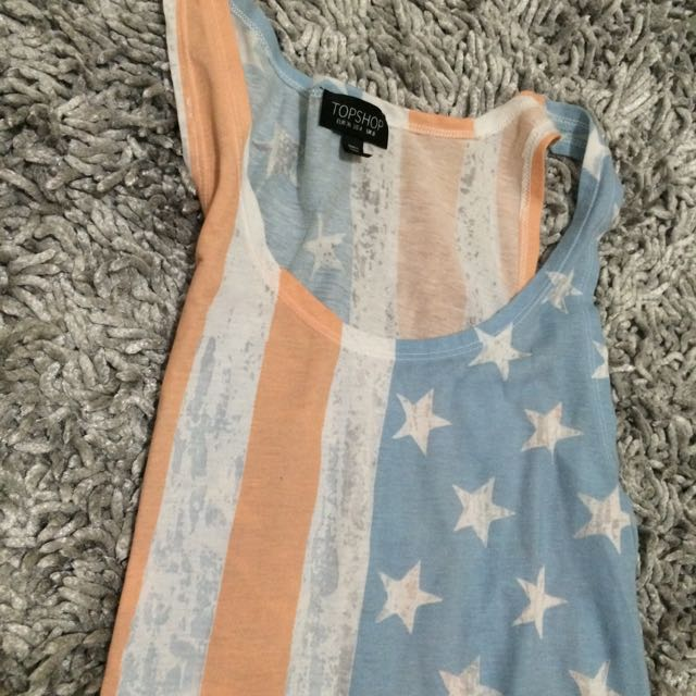 Pastel American Flag Long Tank Top TOPSHOP