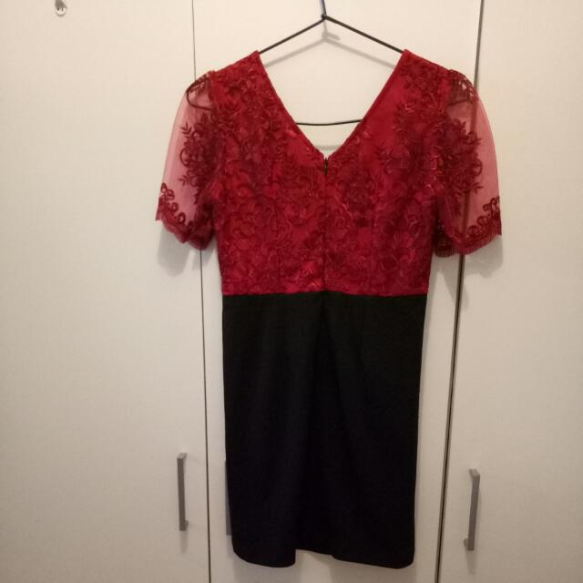 Red and Black Slim Dress