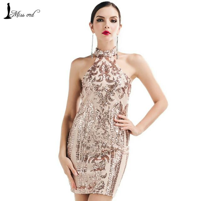 Sale Rose Gold Halter Neck Sequin Dress Women S Fashion Clothes Dresses Skirts On Carousell