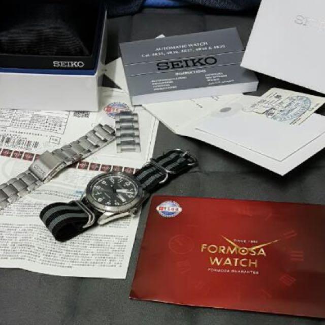 日本製公司貨seiko機械錶 大錶盤 軍事風 購於寶島鐘錶
