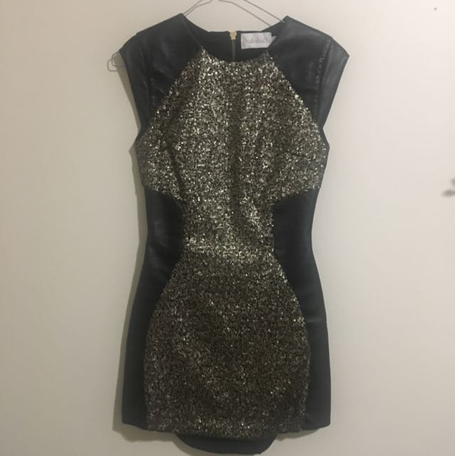 Shakuhachi Black and Gold Sequinned Dress
