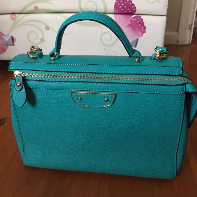 Trendy Blue Leather Lady Handbag