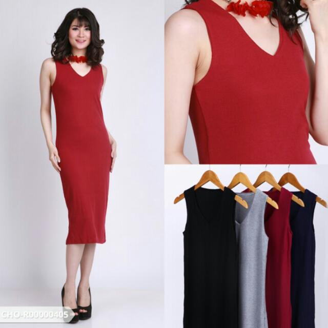 V Neck Dress (Maroon)