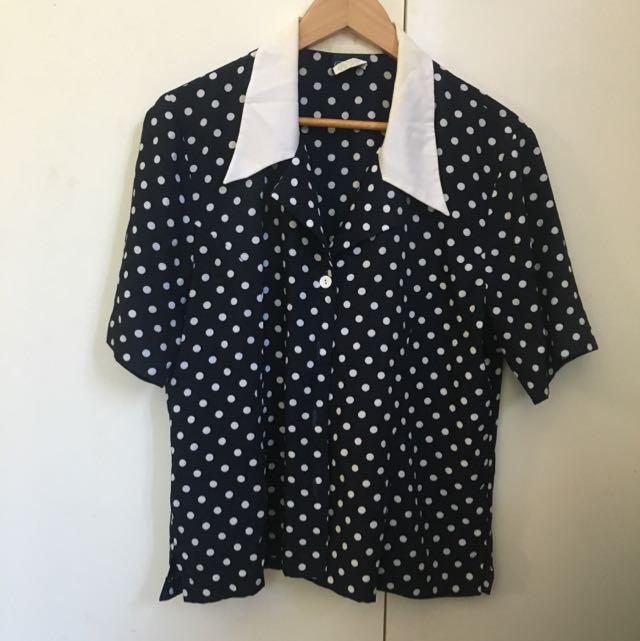 Vintage Polka Dot Button Up