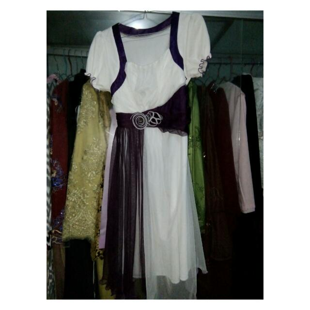 white and purple Dress