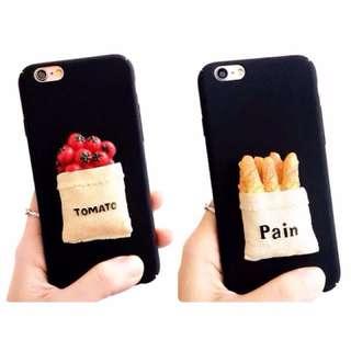 🍅仿真番茄、法國麵包磨砂手機殼 情侶手機殼