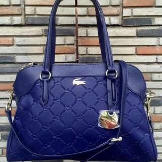 Lacoste Leather Satchel-navy