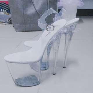 20cm公分透明水晶鞋(防水台、舞台、走秀)細跟綁帶 (近全新)