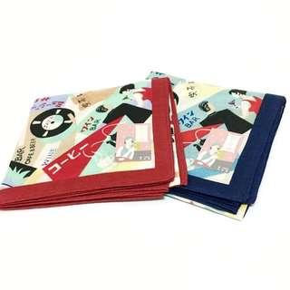 昭和年代復古圖樣手帕/裝飾巾(紅/藍 兩色可選)