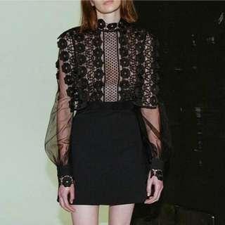 ALICE SELECT 回頭率保證班 歐洲進口 復古宮廷重工藝高領黑色透視蕾絲 洋裝