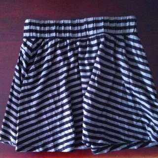 Miss Shop Grey And Black Striped Skirt